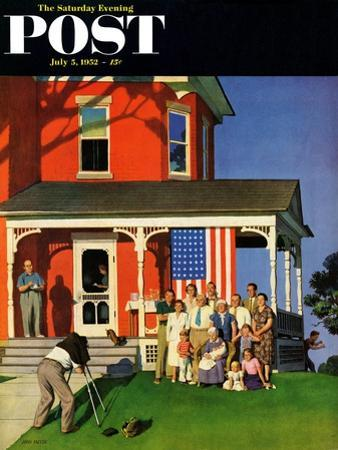 """""""Family Portrait on the Fourth"""" Saturday Evening Post Cover, July 5, 1952 by John Falter"""