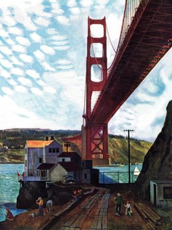 """Fishing Under the Golden Gate"", November 16, 1957 by John Falter"