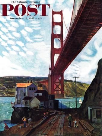 """Fishing Under the Golden Gate"" Saturday Evening Post Cover, November 16, 1957 by John Falter"