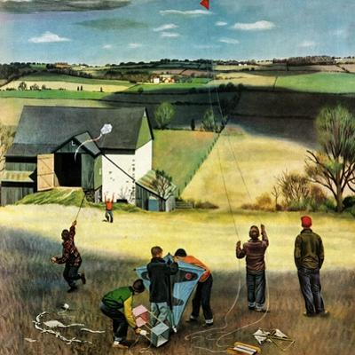 """Flying Kites"", March 18, 1950 by John Falter"