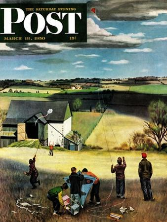 """""""Flying Kites"""" Saturday Evening Post Cover, March 18, 1950 by John Falter"""