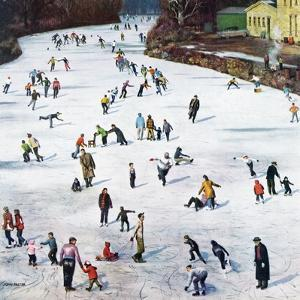 """Fox River Ice-Skating"", January 11, 1958 by John Falter"