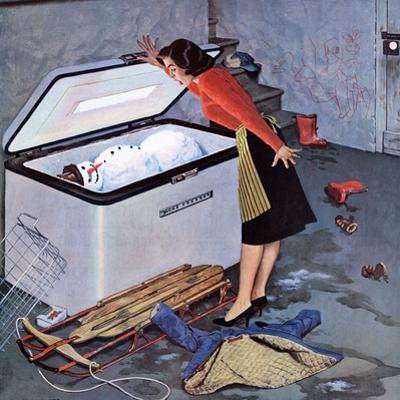 """Frosty in the Freezer"", February 21, 1959 by John Falter"