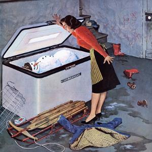 """Frosty in the Freezer"", February 21, 1959 by John Falter"