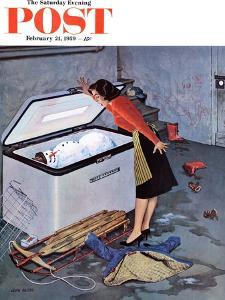 """""""Frosty in the Freezer"""" Saturday Evening Post Cover, February 21, 1959 by John Falter"""