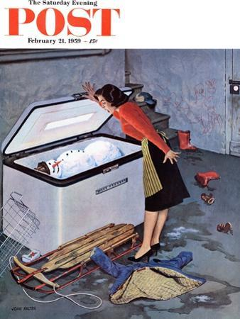 """Frosty in the Freezer"" Saturday Evening Post Cover, February 21, 1959 by John Falter"