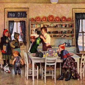 """Getting Ready for School,"" February 26, 1949 by John Falter"