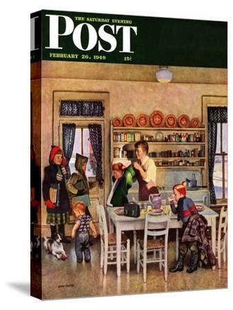 """""""Getting Ready for School,"""" Saturday Evening Post Cover, February 26, 1949"""