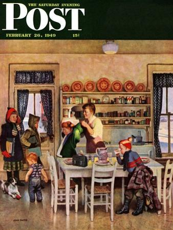 """Getting Ready for School,"" Saturday Evening Post Cover, February 26, 1949 by John Falter"
