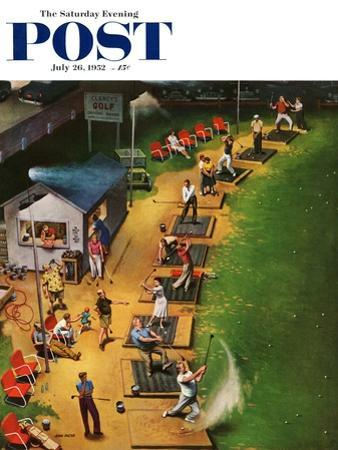 """""""Golf Driving Range"""" Saturday Evening Post Cover, July 26, 1952 by John Falter"""