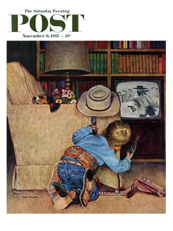 """Good Guys Wear White Hats"" Saturday Evening Post Cover, November 9, 1957 by John Falter"