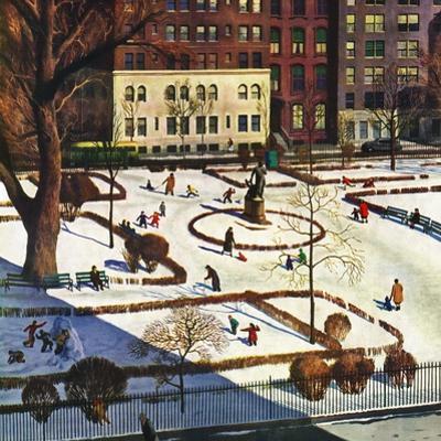 """""""Gramercy Park"""", February 11, 1950 by John Falter"""