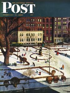 """Gramercy Park"" Saturday Evening Post Cover, February 11, 1950 by John Falter"