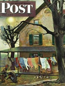 """Hanging Clothes Out to Dry,"" Saturday Evening Post Cover, April 7, 1945 by John Falter"