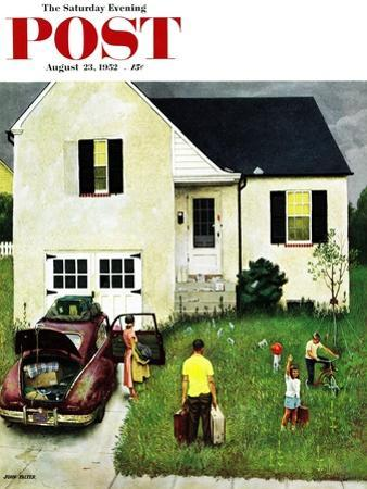 """""""Home from Vacation"""" Saturday Evening Post Cover, August 23, 1952 by John Falter"""