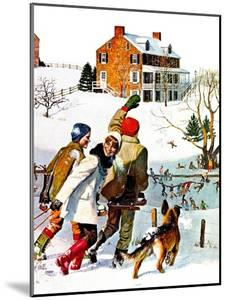 """""""Ice-Skating in the Country,"""" December 1, 1971 by John Falter"""