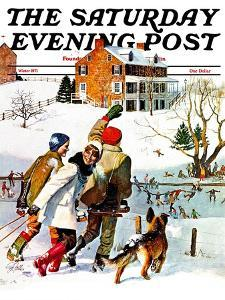 """""""Ice-Skating in the Country,"""" Saturday Evening Post Cover, December 1, 1971 by John Falter"""