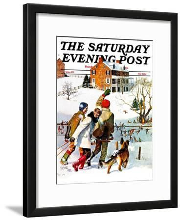 """Ice-Skating in the Country,"" Saturday Evening Post Cover, December 1, 1971"
