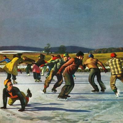 """Ice Skating on Pond"", January 26, 1952 by John Falter"