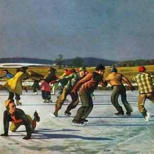 """Ice Skating on Pond"", January 26, 1952 by John Falter"