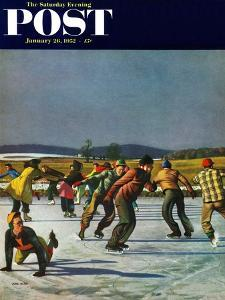 """""""Ice Skating on Pond"""" Saturday Evening Post Cover, January 26, 1952 by John Falter"""