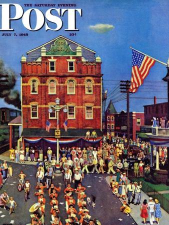 """Independence Parade,"" Saturday Evening Post Cover, July 7, 1945 by John Falter"