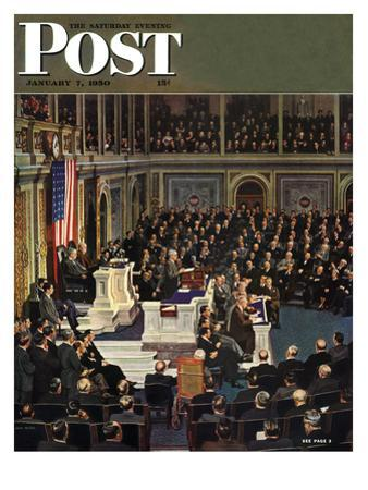 """""""Joint Session of Congress,"""" Saturday Evening Post Cover, January 7, 1950 by John Falter"""