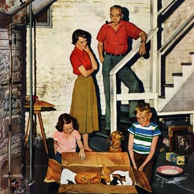 """""""Kittens in the Basement"""", January 8, 1955 by John Falter"""