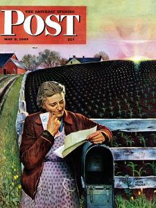 """""""Letter from Overseas,"""" Saturday Evening Post Cover, May 8, 1943 by John Falter"""