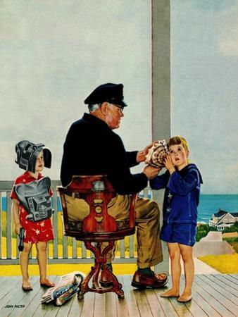 """""""Listening to the Sea"""", July 21, 1956 by John Falter"""