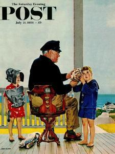 """Listening to the Sea"" Saturday Evening Post Cover, July 21, 1956 by John Falter"