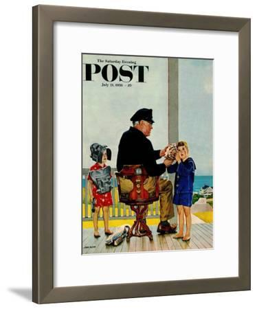 """Listening to the Sea"" Saturday Evening Post Cover, July 21, 1956"