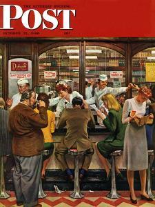 """Lunch Counter,"" Saturday Evening Post Cover, October 12, 1946 by John Falter"