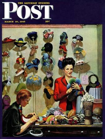 """""""Millinery Shop,"""" Saturday Evening Post Cover, March 10, 1945"""