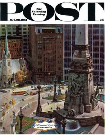 """Monument Circle,"" Saturday Evening Post Cover, October 28, 1961 by John Falter"