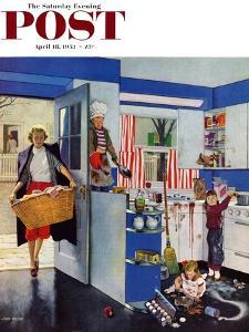 """""""Mother's Little Helpers"""" Saturday Evening Post Cover, April 18, 1953 by John Falter"""