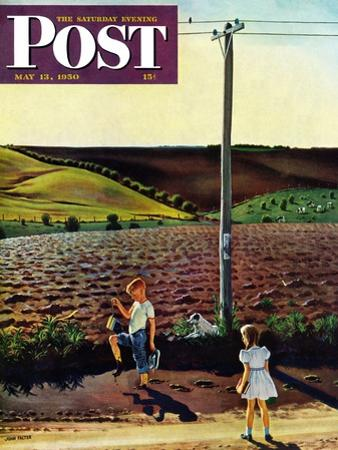"""Muddy Walk Home"" Saturday Evening Post Cover, May 13, 1950 by John Falter"