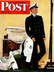 """New Naval Officer,"" Saturday Evening Post Cover, July 10, 1943 by John Falter"