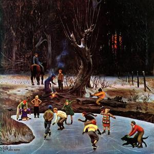 """""""Night Skating,"""" December 16, 1944 by John Falter"""