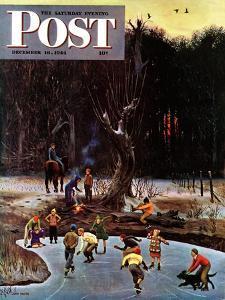 """""""Night Skating,"""" Saturday Evening Post Cover, December 16, 1944 by John Falter"""