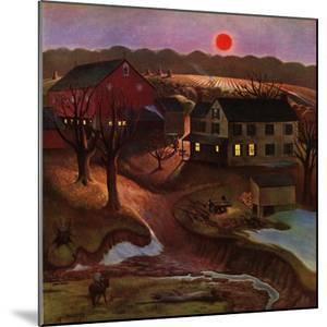 """Nighttime Farm Landscape,"" January 12, 1946 by John Falter"