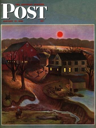 """Nighttime Farm Landscape,"" Saturday Evening Post Cover, January 12, 1946 by John Falter"