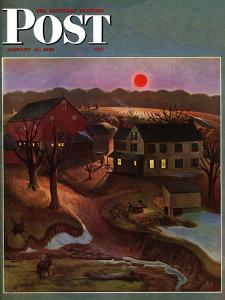 """Nighttime Farm Landscape,"" Saturday Evening Post Cover, January 12, 1946 by John Falter"