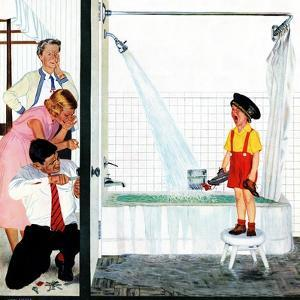 """Overflowing Tub"", December 3, 1955 by John Falter"