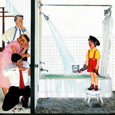 """Overflowing Tub"", December 3, 1955 by John Falter"