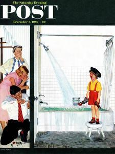 """Overflowing Tub"" Saturday Evening Post Cover, December 3, 1955 by John Falter"