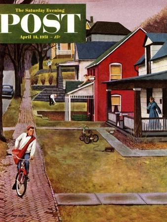 """""""Paperboy"""" Saturday Evening Post Cover, April 14, 1951 by John Falter"""