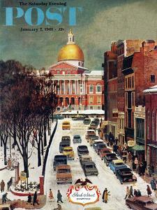 """Park Street, Boston,"" Saturday Evening Post Cover, January 7, 1961 by John Falter"