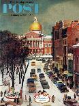 """""""Department Store at Christmas"""" Saturday Evening Post Cover, December 6, 1952-John Falter-Giclee Print"""