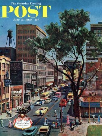 """Peachtree Street,"" Saturday Evening Post Cover, June 25, 1960 by John Falter"